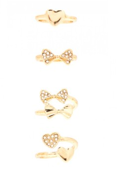 Heart and Ribbon Midi Rings Set