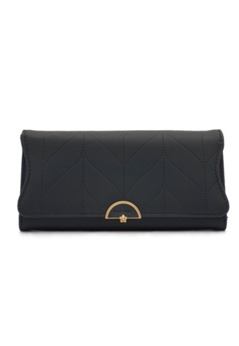 Polo Hill black Polo Hill Ladies Leaf Inspired Stitching Long Wallet 0CDE9AC9F69662GS_1