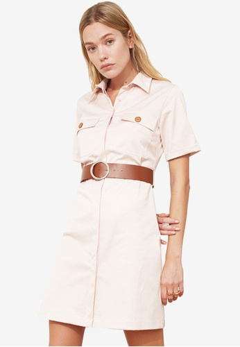 Trendyol pink Belted Short Sleeve Dress 82626AA4C952A2GS_1