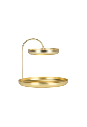 DILAS HOME 2-tier Gold Round Tray C5DC9HL976893BGS_1