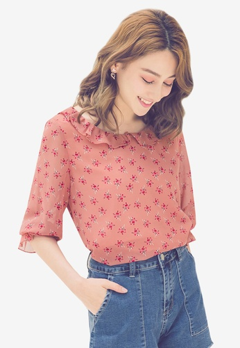 YOCO pink Floral Printed Frilled Sleeves Top 51816AA88BE36DGS_1
