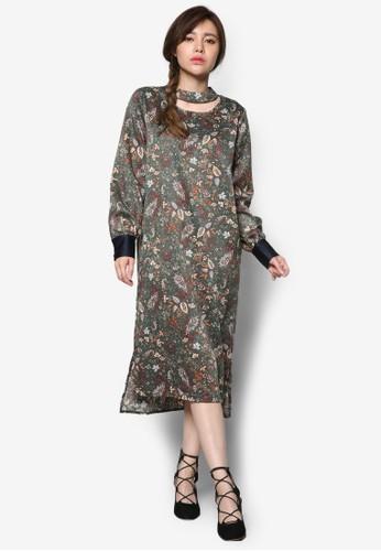 韓時尚鏤空esprit暢貨中心印花長袖直筒連身裙, 服飾, 洋裝