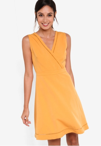 ZALORA yellow Collection Trim Insert Fit & Flare Dress 731A0AAF1248B7GS_1