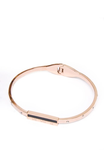 ASLLY pink and gold Memorial Day│ Inlaid Obsidian Roman Digital Bracelet 0225FACC4A97B6GS_1