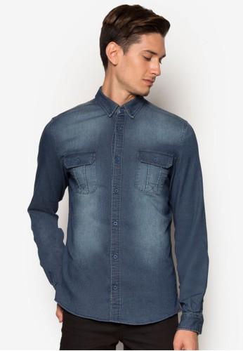 Efuosa 丹寧zalora 包包 ptt長袖襯衫, 服飾, 襯衫