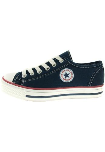 Maxstar 藍色 新款韩国鞋C1-6H時尚帆布布混合女深藍色 US Women Size MA345SH94GXHTW_1