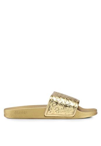 Slydes 金色 質感壓紋拖鞋 AA8A9SH5842E2EGS_1