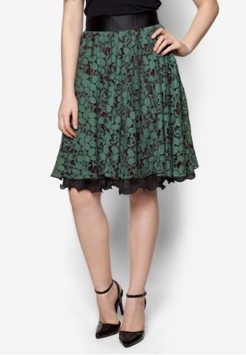 蕾絲鉤花荷葉邊傘狀短裙, 服飾, esprit china及膝裙