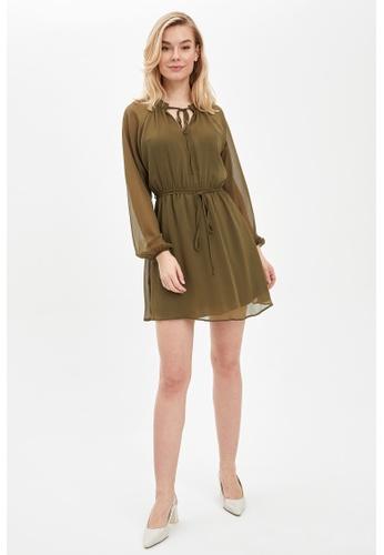 DeFacto green Long Sleeve Mini Dress 4E893AAAE4D03FGS_1