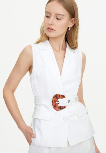 Pomelo white Oversize Belt Buttoned Vest - White 63996AAB57458FGS_1