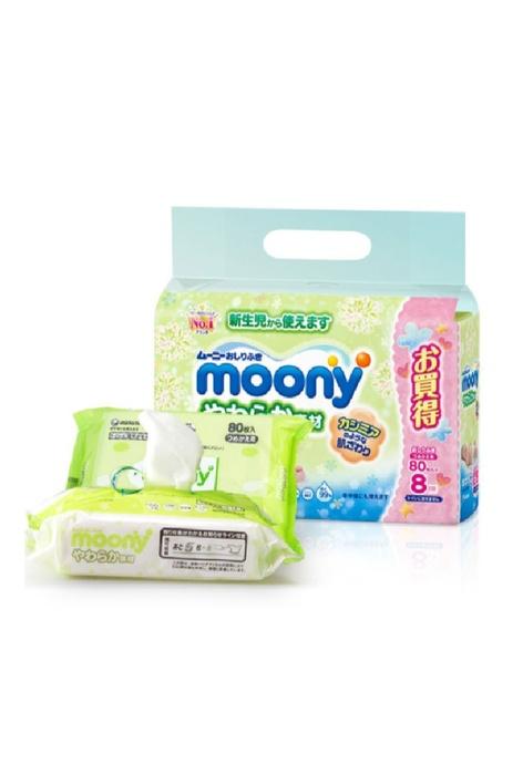 Moony Moony - 嬰兒濕紙巾 80張 x 8包裝 (2包)