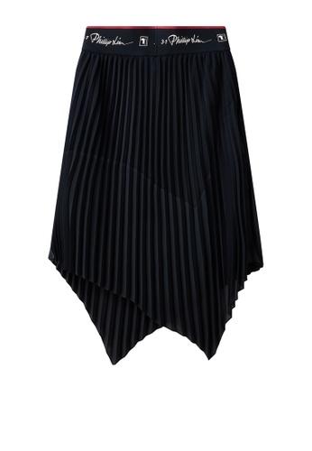 FILA navy FILA x 3.1 Phillip Lim Asymmetric Pleated Skirt FEB4AAA71703D5GS_1