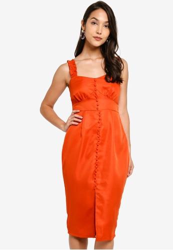 b9083ed3e04 Buy MISSGUIDED Button Detail Frill Strap Midi Dress Online on ZALORA  Singapore