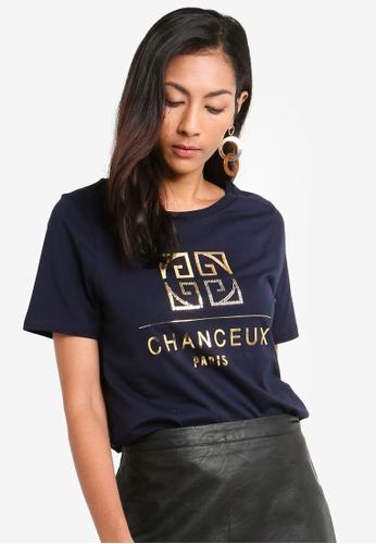 River Island navy Short Sleeve Chanceux Mix Sequin Ef Tee 0A2D4AA97B26DCGS_1
