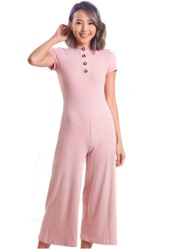 Kitschen pink Rounded-Neck Button Jumpsuit 75D20AAD025D8DGS_1