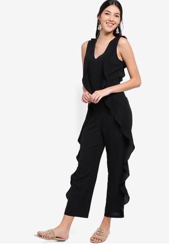 ZALORA black Ruffle Sleeveless Maxi Jumpsuit 678C5AA9B393F3GS_1