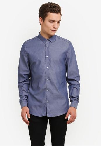 River Island blue Long Sleeve Chambray Slim Fit Shirt RI009AA0RSE6MY_1