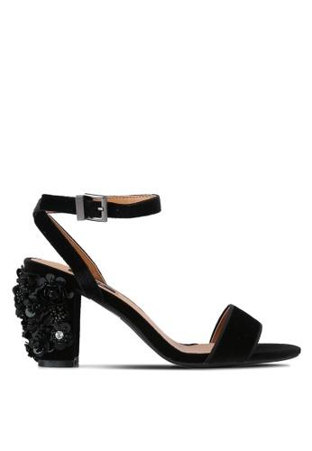 ZALORA 黑色 新年系列 水鑽花卉高跟鞋 03368SH6B8C6D9GS_1
