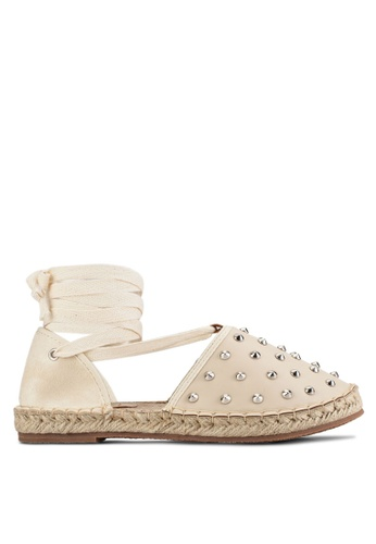 Something Borrowed beige Studded Lace Up Espadrille Flats 05A3DSHA13C0B1GS_1