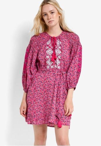 TOPSHOP pink Ditsy Smock Dress TO412AA33RGWMY_1