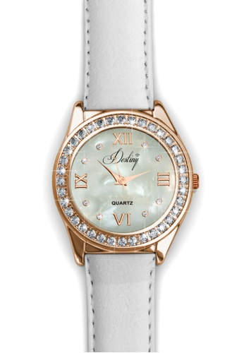 Her Jewellery white Destiny Leather Watch (White) -  Made with premium grade crystals from Austria 553B1AC2686395GS_1