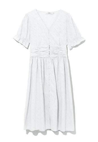 b+ab white Ruched waist dress 993CAAAC93D852GS_1