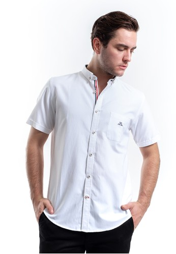 MANLY white Manly Lavigne White  Short Sleeve Slim Fit Shirt 4F7FEAA34B4A85GS_1
