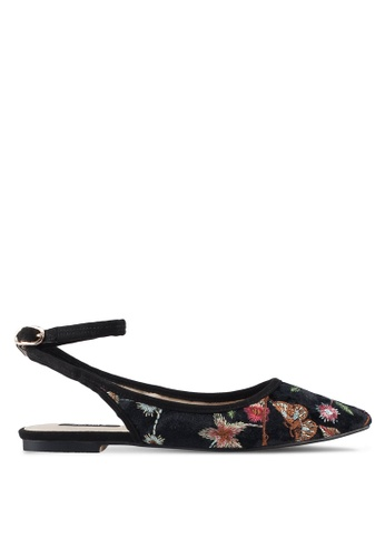 ZALORA 黑色 Floral Embroidered Slingback Flats D4FC8SHCE21177GS_1
