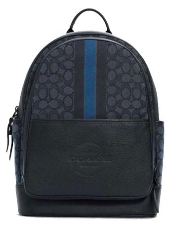 COACH blue COACH Thompson Backpack In Signature Jacquard With Varsity Stripe 28F60AC4DE7EABGS_1