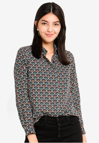 Dorothy Perkins 綠色 Petite Teal Geo Shirt DDA00AABEC37C2GS_1