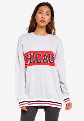 Supre grey Varsity Sweatshirt 4AE62AA6702CAAGS_1