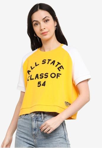 Superdry yellow and gold Collegiate Corange Label Block Sweat Tee - Original & Vintage C3160AA39B6F20GS_1