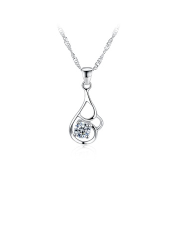 Glamorousky white 925 Sterling Silver Elegant Simple Fashion Hollow Out Flower Pendant Necklace with Cubic Zircon C0105AC640F7E5GS_1