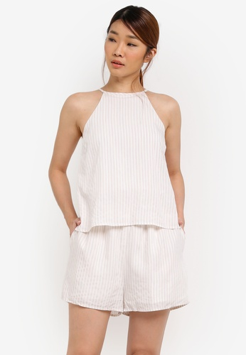 Something Borrowed white Double Layer Cut In Romper C1BBFAAEDC4A9FGS_1