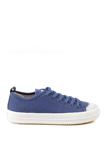 J.DAUL 藍色 經典厚底真皮帆布休閒鞋 JD556SH09Q56TW_1