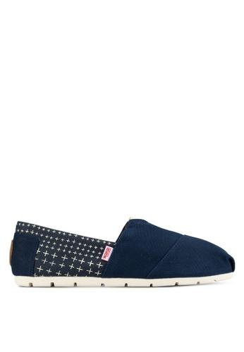 Wakai navy Sashiko - Men's Slip On Shoes WA681SH08FZRMY_1