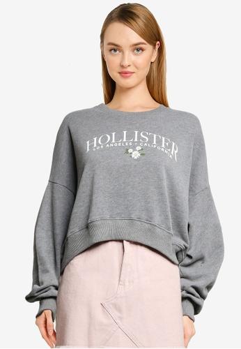 Hollister 灰色 Print Fashion Logo Crew Sweatshirt 2E672AA9678859GS_1