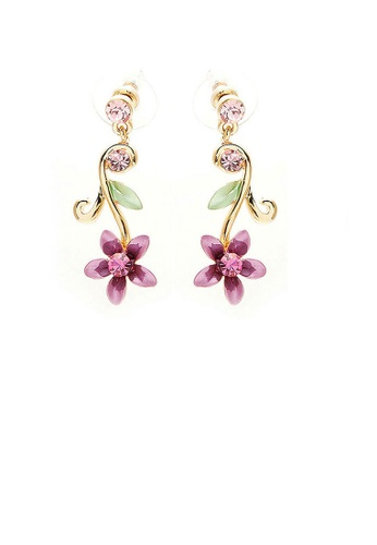 Glamorousky pink Purple Flower Golden Pair Earrings with Austrian Element Crystals 3CACDAC1DDBA77GS_1