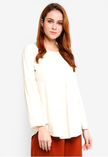 Aqeela Muslimah Wear white Gathered Top FA97FAAEA55D32GS_1