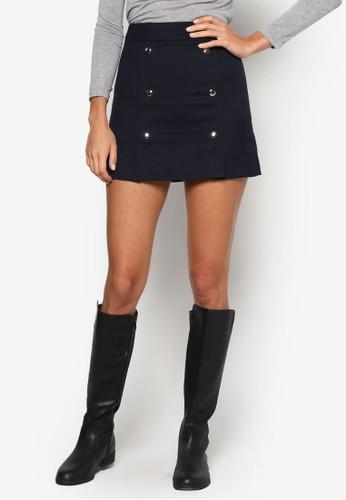 雙排扣A 字短裙、 服飾、 裙子NewLook雙排扣A字短裙最新折價