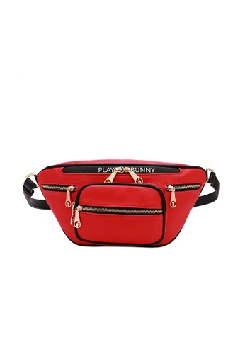 PLAYBOY BUNNY red Zip Overload Waist Bag F5DA0ACF95EDCBGS_1