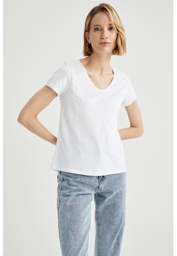 DeFacto white Woman Knitted Short Sleeve T-Shirt 848F5AA861778DGS_1