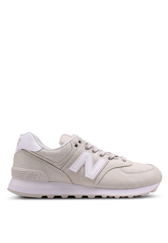 New Balance 白色 and 米褐色 574 Lifestyle Sneakers FBCE7SH75B4BC8GS_1