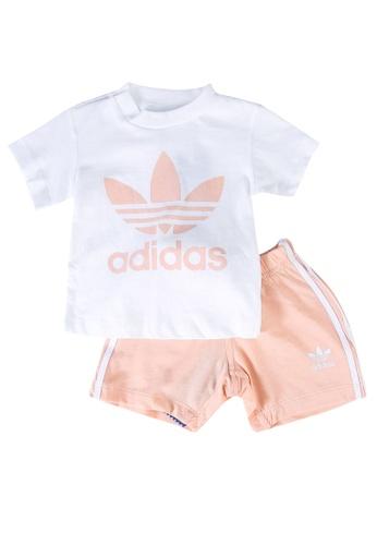 ADIDAS white trefoil shorts and tee set 9AE2BKA34CA762GS_1
