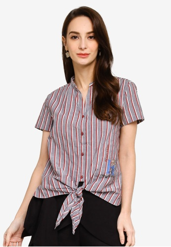 Hopeshow grey and multi Short Sleeves Striped Button Blouse with Front Hem Tie 078E5AAC5A73C9GS_1