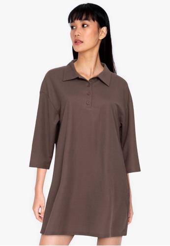 ZALORA BASICS brown Oversized Polo Dress 123B5AA7DF4911GS_1