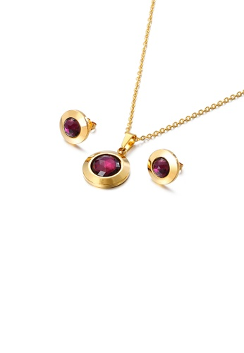 Glamorousky purple Simple Temperament Plated Gold Geometric Round 316L Stainless Steel Necklace and Stud Earrings Set with Purple Cubic Zirconia DF128ACA38C19DGS_1