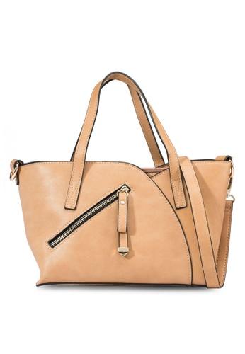 Perllini&Mel brown Faux Nappa Leather Tote Bag PE423AC87LRSSG_1