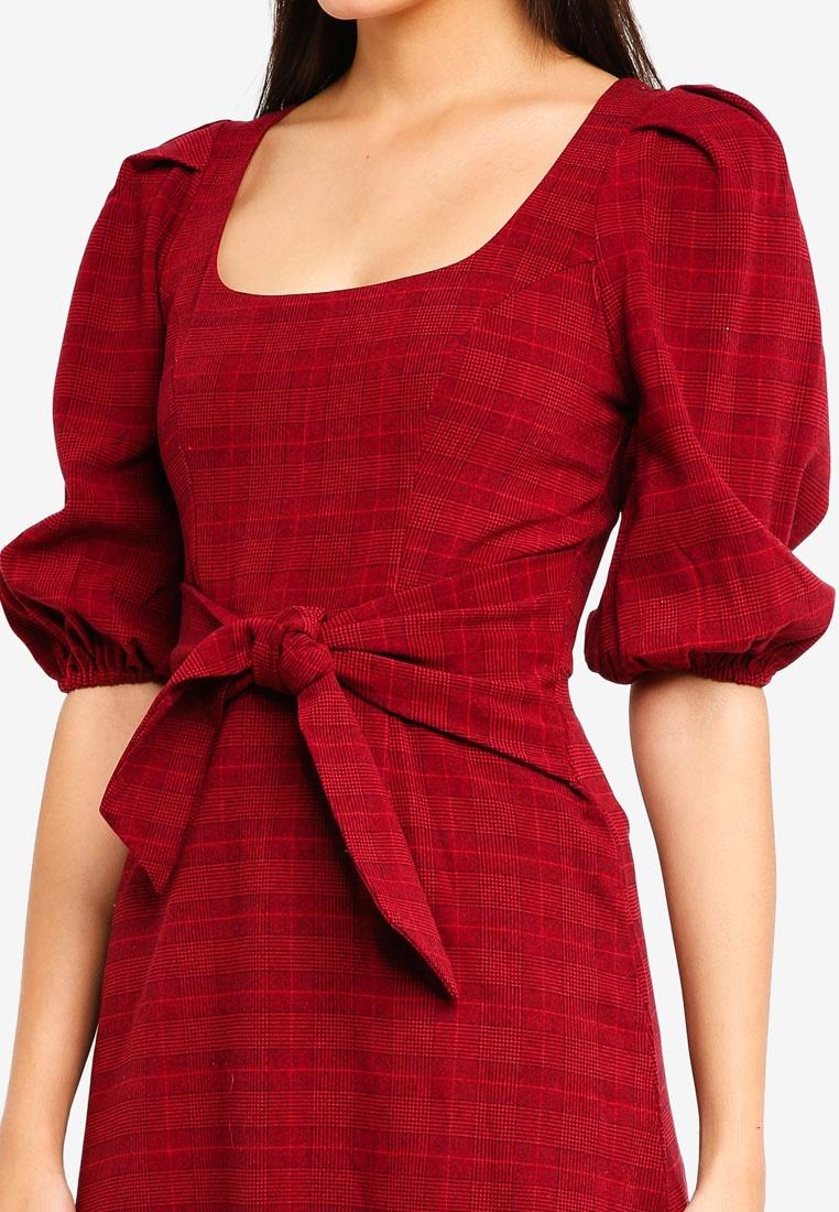 Dress INDIKAH Skater Tie Red Front Puff Short Check Sleeve nYwCvSUq