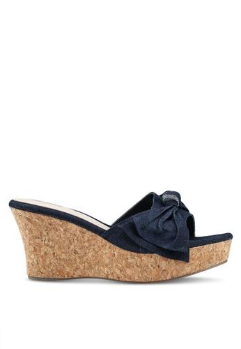 Bata 藍色 丹寧蝴蝶結楔型鞋 54D18SH011C9CAGS_1